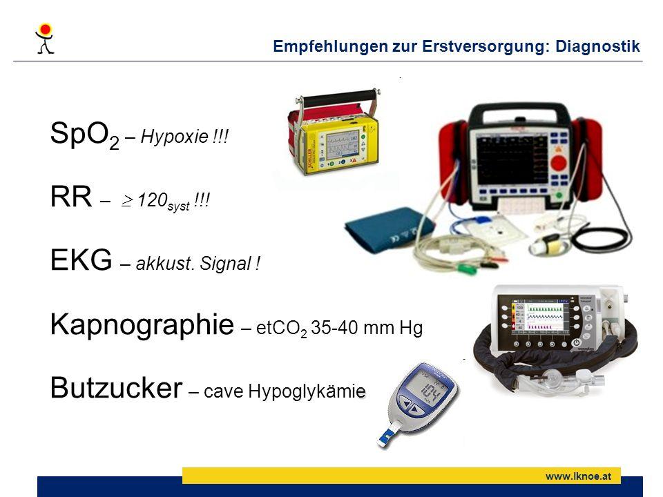 www.lknoe.at Empfehlungen zur Erstversorgung: Diagnostik SpO 2 – Hypoxie !!! RR – 120 syst !!! EKG – akkust. Signal ! Kapnographie – etCO 2 35-40 mm H