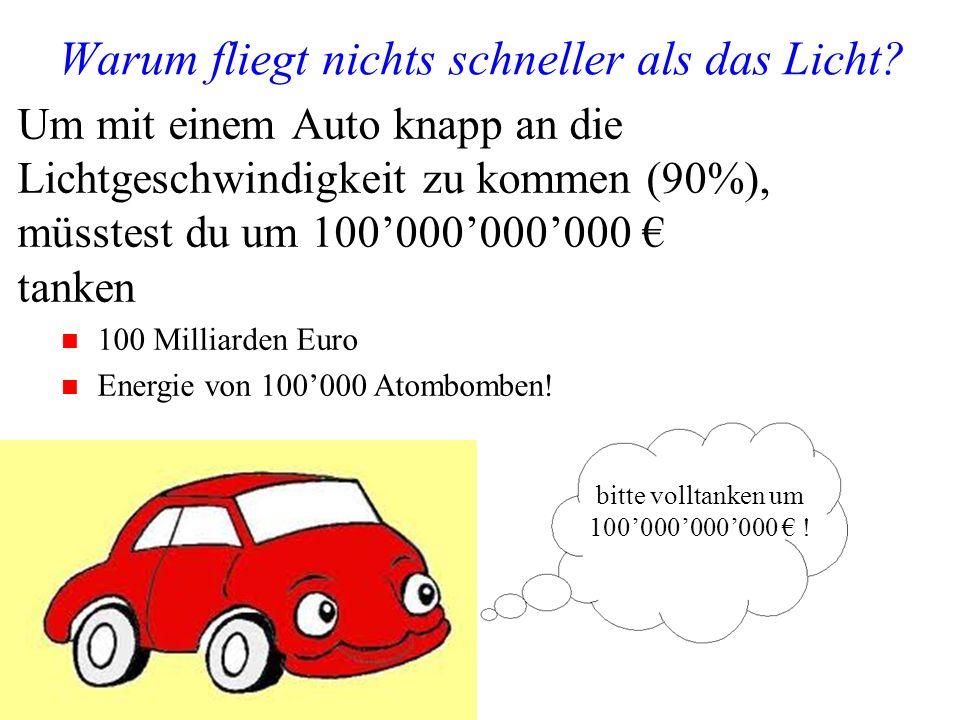 Manfred Jeitler, Institut für Hochenergiephysik Wer ist am schnellsten? 19 Um mit einem Auto knapp an die Lichtgeschwindigkeit zu kommen (90%), müsste