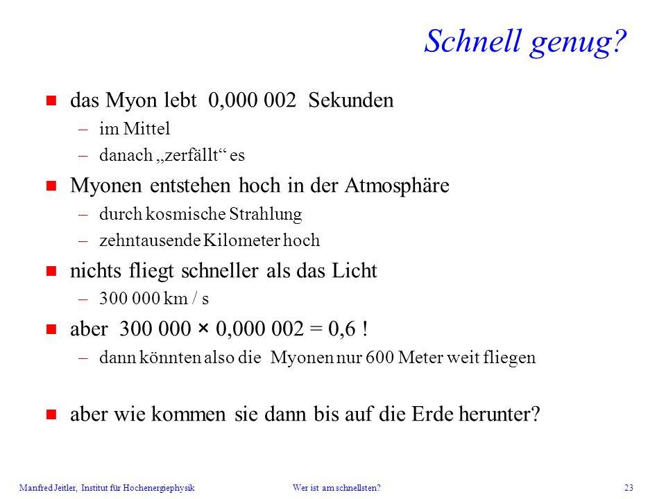 Manfred Jeitler, Institut für Hochenergiephysik Wer ist am schnellsten? 23 n das Myon lebt 0,000 002 Sekunden –im Mittel –danach zerfällt es n Myonen