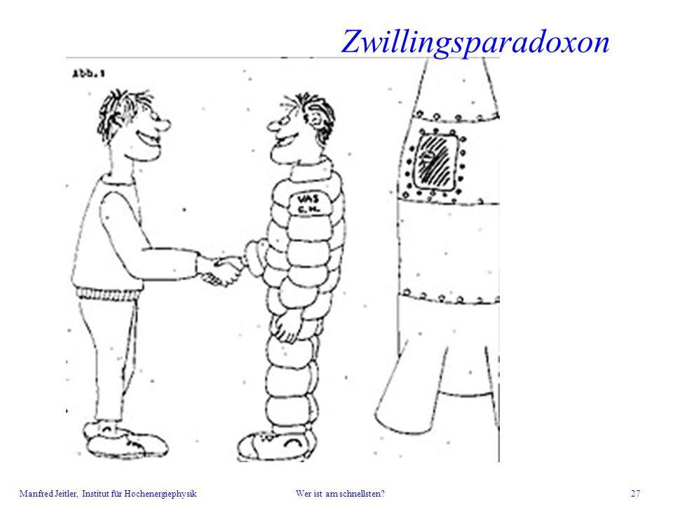 Manfred Jeitler, Institut für Hochenergiephysik Wer ist am schnellsten? 27 Zwillingsparadoxon