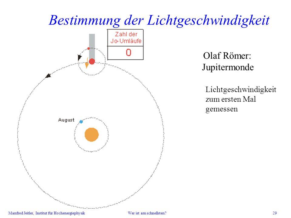Manfred Jeitler, Institut für Hochenergiephysik Wer ist am schnellsten? 29 Bestimmung der Lichtgeschwindigkeit Olaf Römer: Jupitermonde Lichtgeschwind