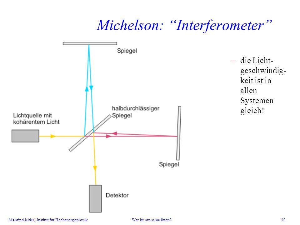 Manfred Jeitler, Institut für Hochenergiephysik Wer ist am schnellsten? 30 Michelson: Interferometer –die Licht- geschwindig- keit ist in allen System