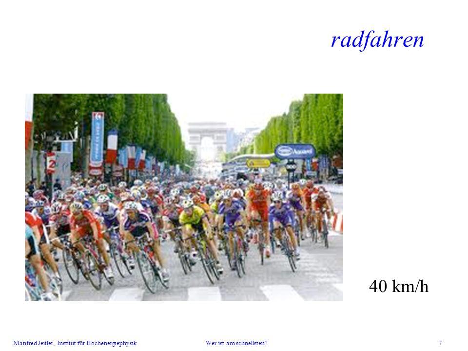 Manfred Jeitler, Institut für Hochenergiephysik Wer ist am schnellsten? 7 radfahren 40 km/h