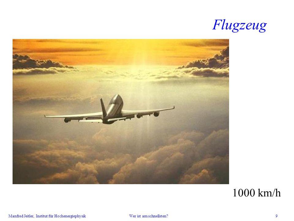 Manfred Jeitler, Institut für Hochenergiephysik Wer ist am schnellsten? 9 Flugzeug 1000 km/h