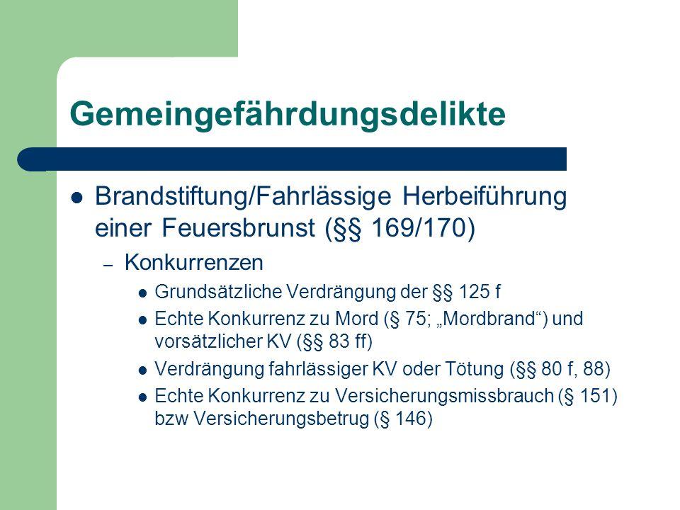 Gemeingefährdungsdelikte Brandstiftung/Fahrlässige Herbeiführung einer Feuersbrunst (§§ 169/170) – Konkurrenzen Grundsätzliche Verdrängung der §§ 125