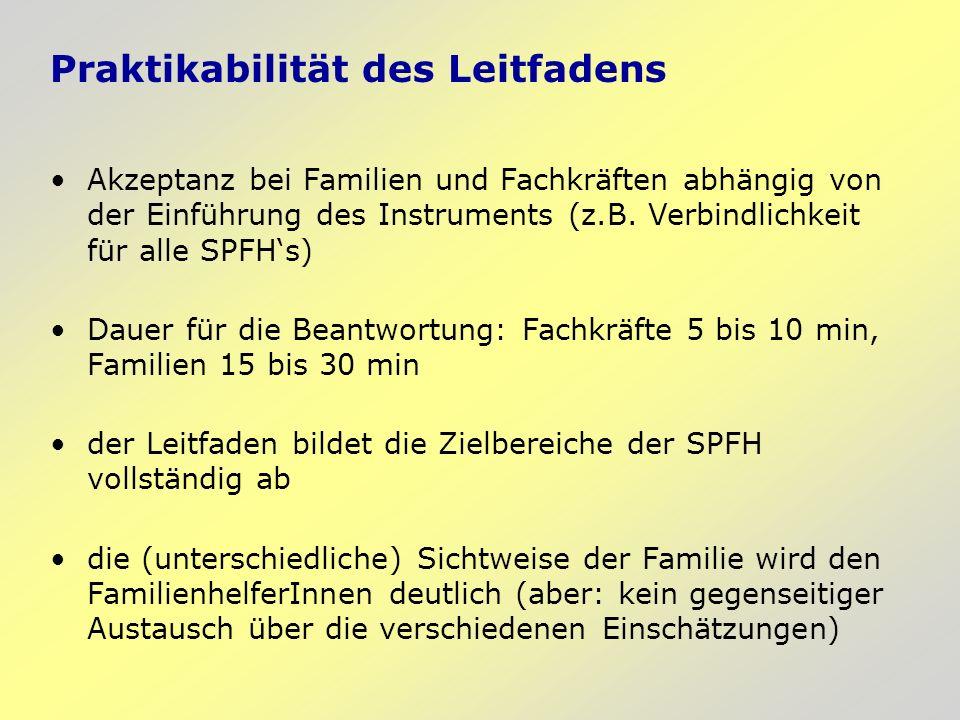Praktikabilität des Leitfadens Akzeptanz bei Familien und Fachkräften abhängig von der Einführung des Instruments (z.B. Verbindlichkeit für alle SPFHs
