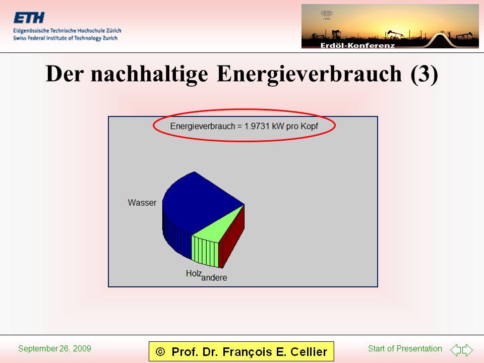 Start of Presentation September 26, 2009 Der nachhaltige Energieverbrauch (3)