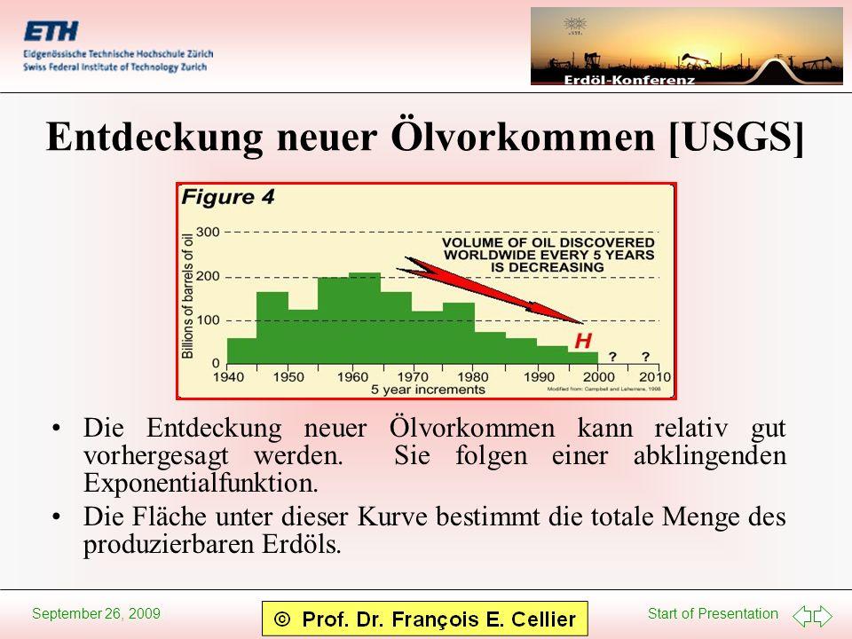 Start of Presentation September 26, 2009 Entdeckung neuer Ölvorkommen [USGS] Die Entdeckung neuer Ölvorkommen kann relativ gut vorhergesagt werden. Si