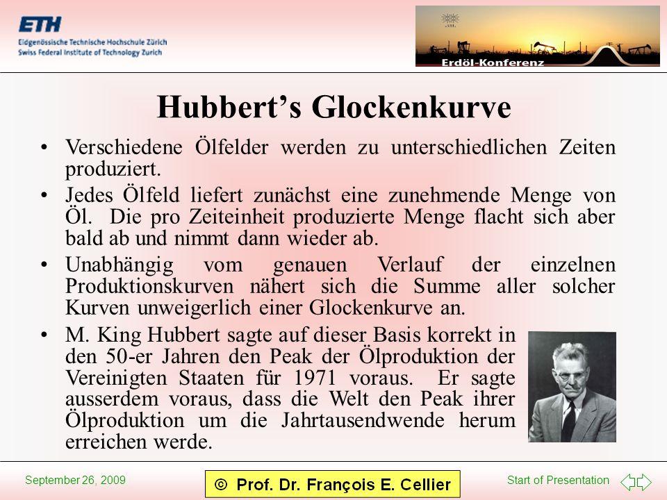 Start of Presentation September 26, 2009 Hubberts Glockenkurve Verschiedene Ölfelder werden zu unterschiedlichen Zeiten produziert. Jedes Ölfeld liefe