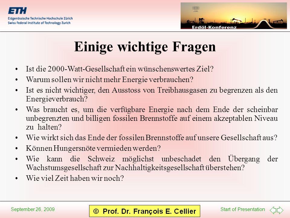 Start of Presentation September 26, 2009 Einige wichtige Fragen Ist die 2000-Watt-Gesellschaft ein wünschenswertes Ziel? Warum sollen wir nicht mehr E