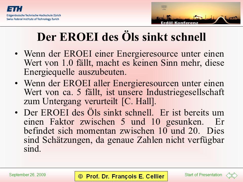 Start of Presentation September 26, 2009 Der EROEI des Öls sinkt schnell Wenn der EROEI einer Energieresource unter einen Wert von 1.0 fällt, macht es