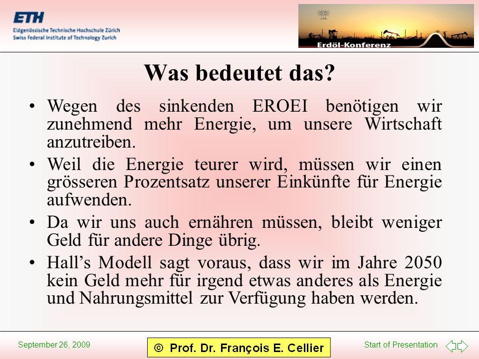 Start of Presentation September 26, 2009 Was bedeutet das? Wegen des sinkenden EROEI benötigen wir zunehmend mehr Energie, um unsere Wirtschaft anzutr