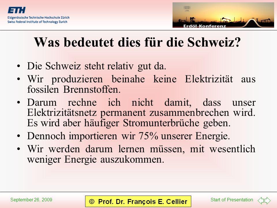 Start of Presentation September 26, 2009 Was bedeutet dies für die Schweiz? Die Schweiz steht relativ gut da. Wir produzieren beinahe keine Elektrizit