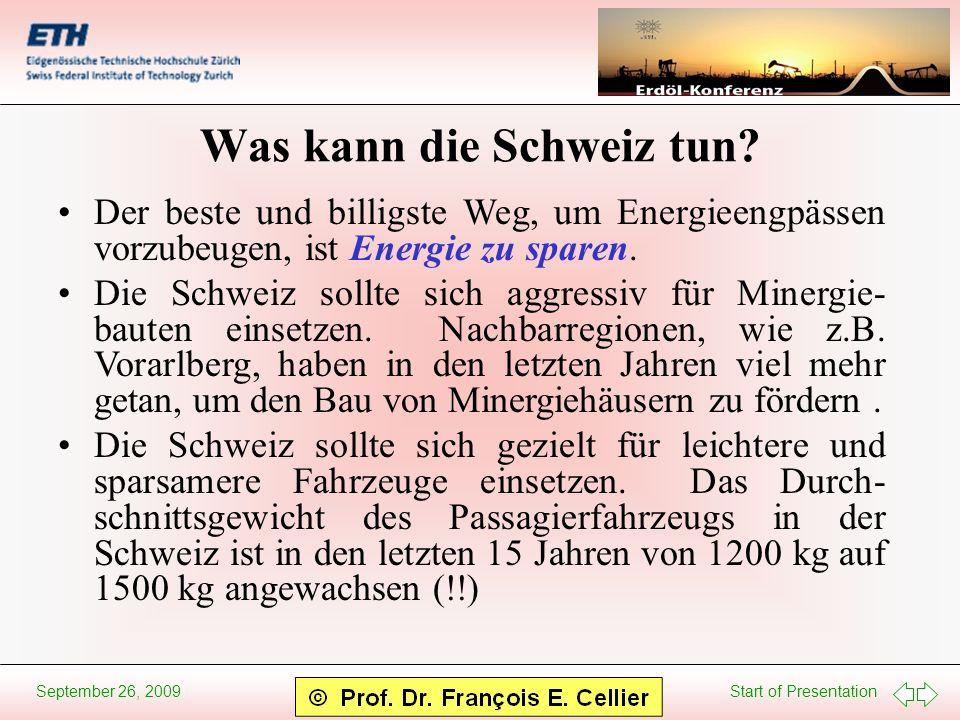 Start of Presentation September 26, 2009 Was kann die Schweiz tun? Der beste und billigste Weg, um Energieengpässen vorzubeugen, ist Energie zu sparen