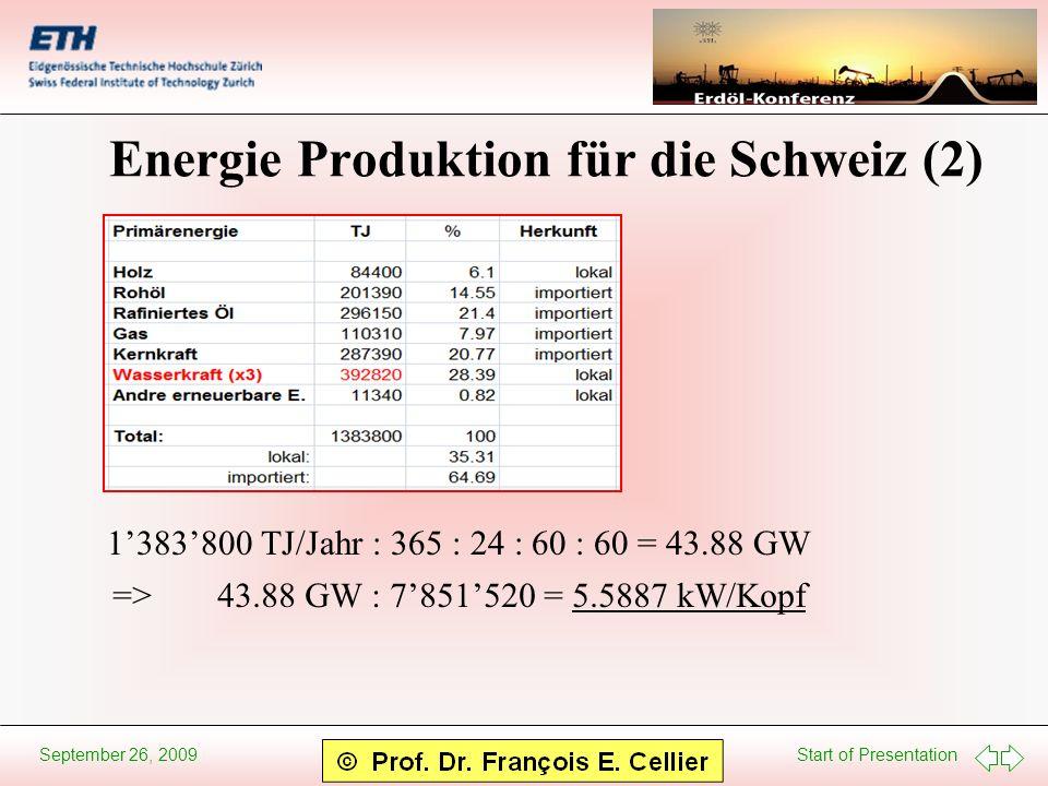 Start of Presentation September 26, 2009 Energie Produktion für die Schweiz (2) 1383800 TJ/Jahr : 365 : 24 : 60 : 60 = 43.88 GW =>43.88 GW : 7851520 =