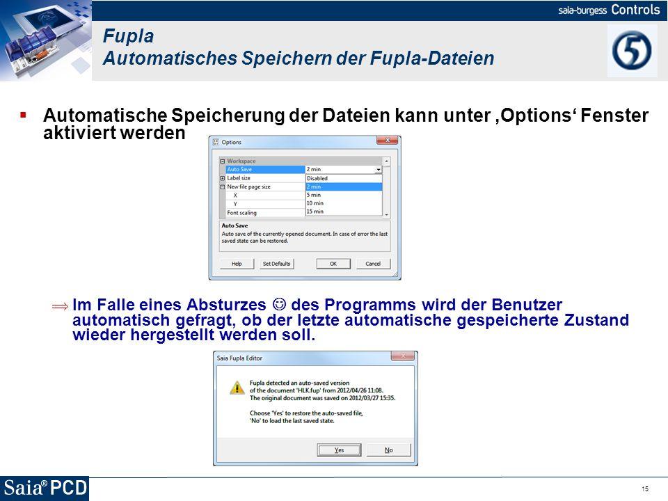 15 Automatische Speicherung der Dateien kann unter Options Fenster aktiviert werden Im Falle eines Absturzes des Programms wird der Benutzer automatis