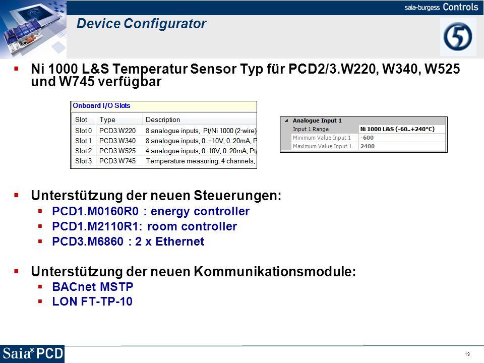 19 Ni 1000 L&S Temperatur Sensor Typ für PCD2/3.W220, W340, W525 und W745 verfügbar Unterstützung der neuen Steuerungen: PCD1.M0160R0 : energy control