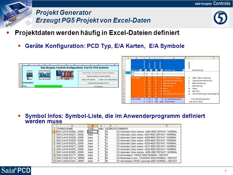 3 Projektdaten werden häufig in Excel-Dateien definiert Geräte Konfiguration: PCD Typ, E/A Karten, E/A Symbole Symbol Infos: Symbol-Liste, die im Anwe