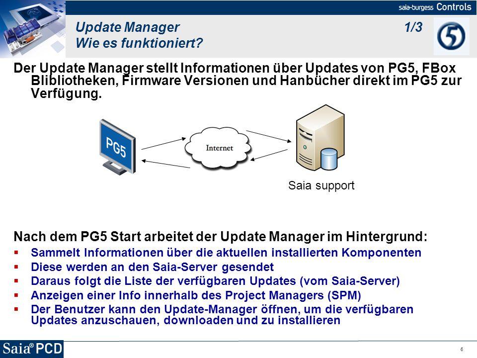 6 Update Manager 1/3 Wie es funktioniert? Der Update Manager stellt Informationen über Updates von PG5, FBox Blibliotheken, Firmware Versionen und Han