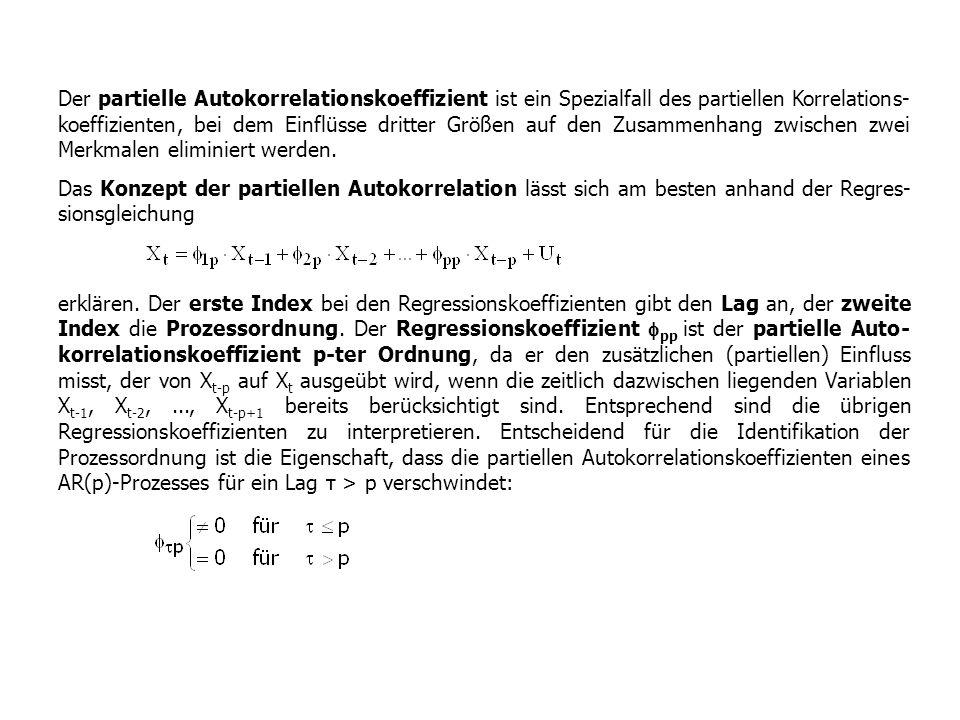 Der partielle Autokorrelationskoeffizient ist ein Spezialfall des partiellen Korrelations- koeffizienten, bei dem Einflüsse dritter Größen auf den Zus