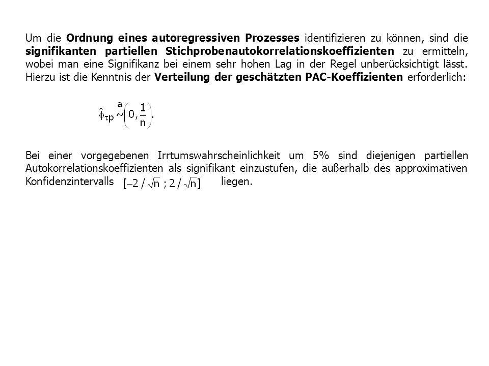 Um die Ordnung eines autoregressiven Prozesses identifizieren zu können, sind die signifikanten partiellen Stichprobenautokorrelationskoeffizienten zu