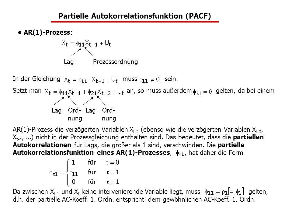 In der Gleichung muss sein. Setzt man an, so muss außerdem gelten, da bei einem AR(1)-Prozess die verzögerten Variablen X t-2 (ebenso wie die verzöger