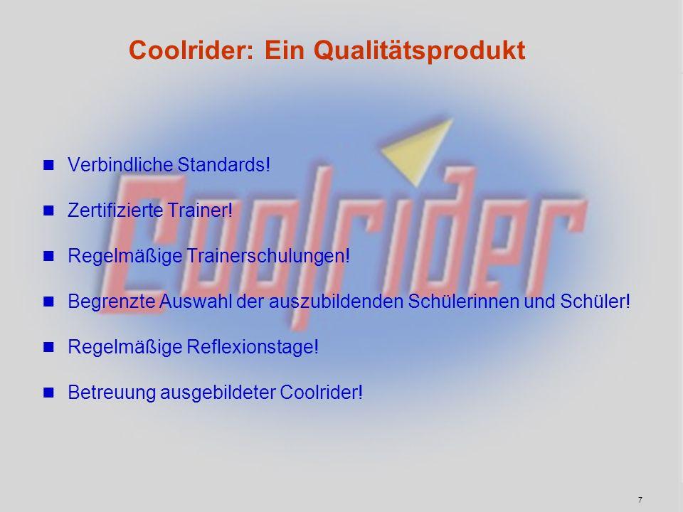Coolrider: Ein Qualitätsprodukt Verbindliche Standards! Zertifizierte Trainer! Regelmäßige Trainerschulungen! Begrenzte Auswahl der auszubildenden Sch