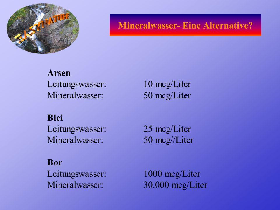 Minimalismus! Wie viele Stoffe werden geprüft? Laut WHO sollten es 200 sein Nach der TVO sind es 33 (Trinkwasserverordnung) nach der MTVO sind es 10 (