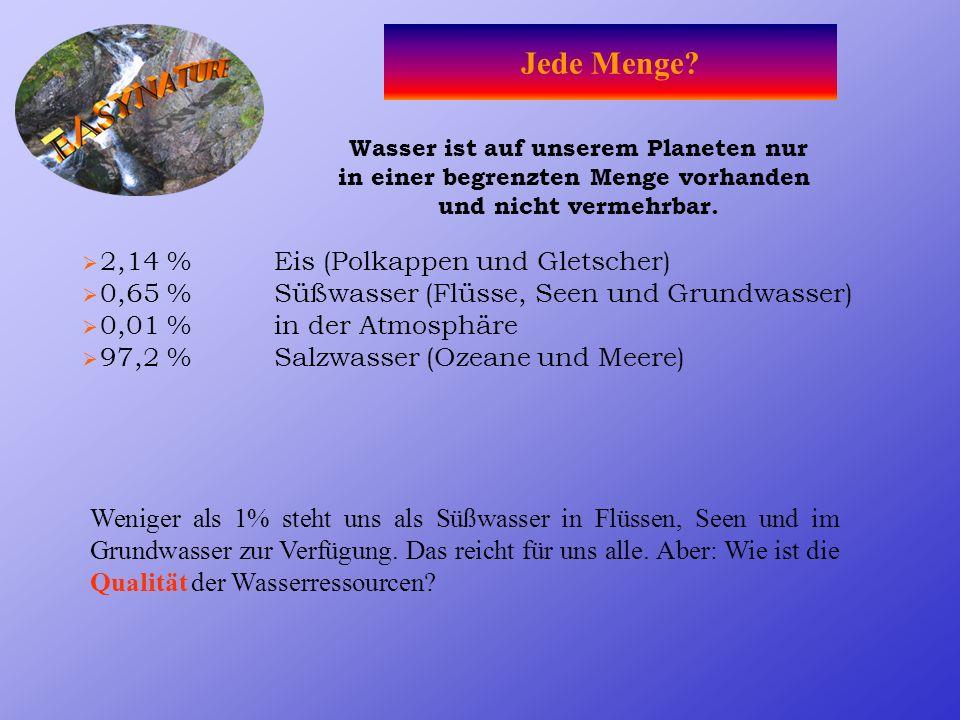 Wasser ist auf unserem Planeten nur in einer begrenzten Menge vorhanden und nicht vermehrbar.