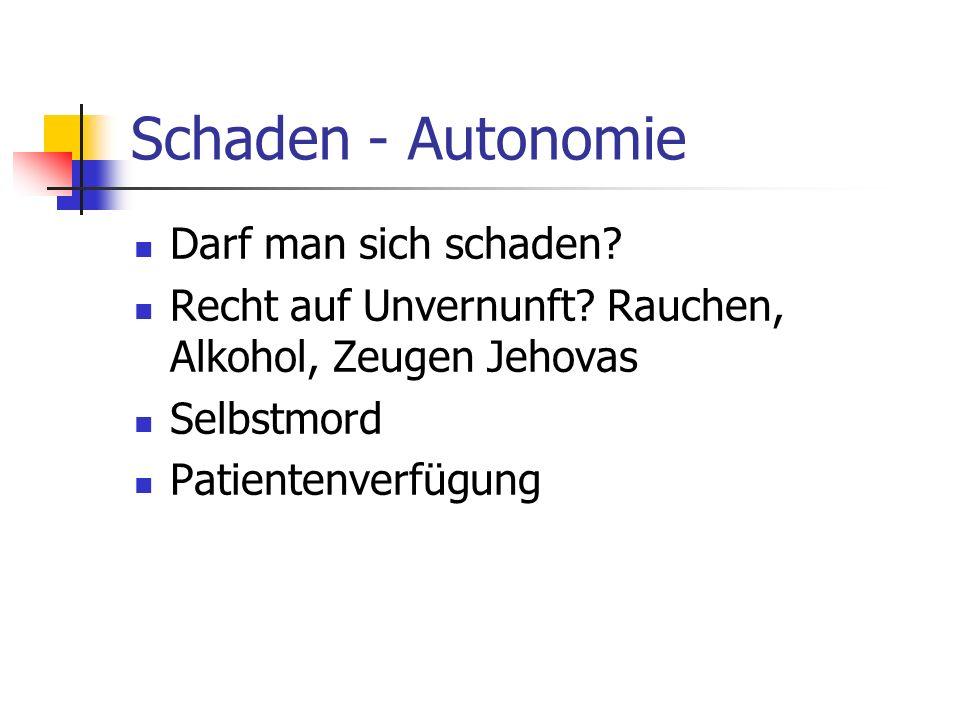 Schaden - Autonomie Darf man sich schaden? Recht auf Unvernunft? Rauchen, Alkohol, Zeugen Jehovas Selbstmord Patientenverfügung