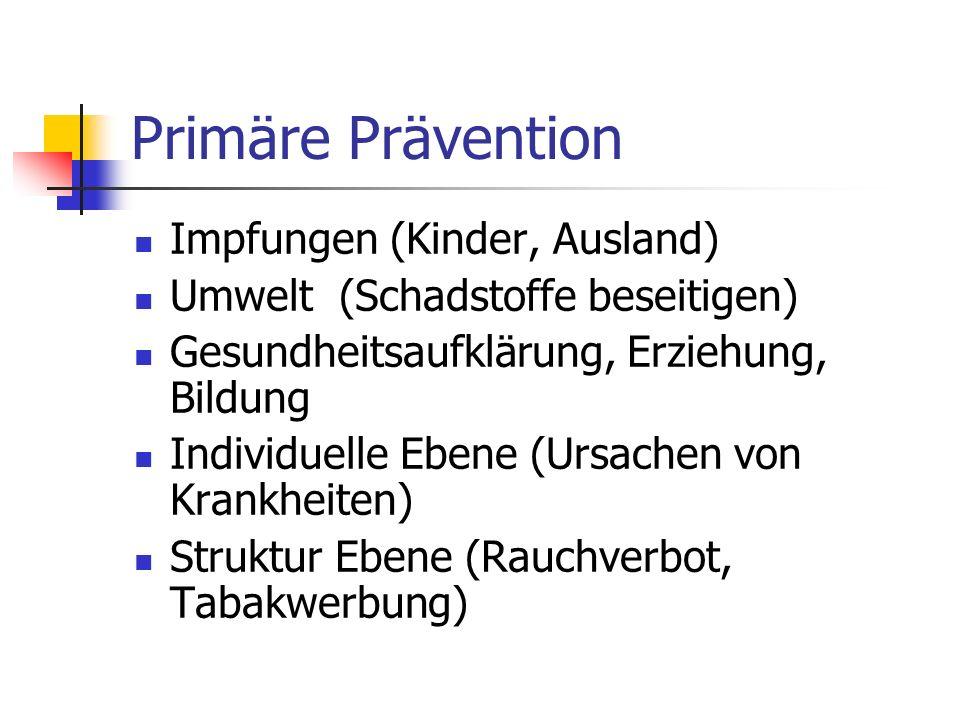 Primäre Prävention Impfungen (Kinder, Ausland) Umwelt (Schadstoffe beseitigen) Gesundheitsaufklärung, Erziehung, Bildung Individuelle Ebene (Ursachen