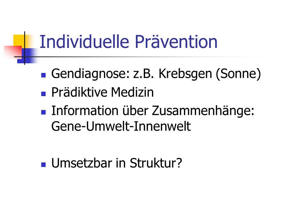 Individuelle Prävention Gendiagnose: z.B. Krebsgen (Sonne) Prädiktive Medizin Information über Zusammenhänge: Gene-Umwelt-Innenwelt Umsetzbar in Struk