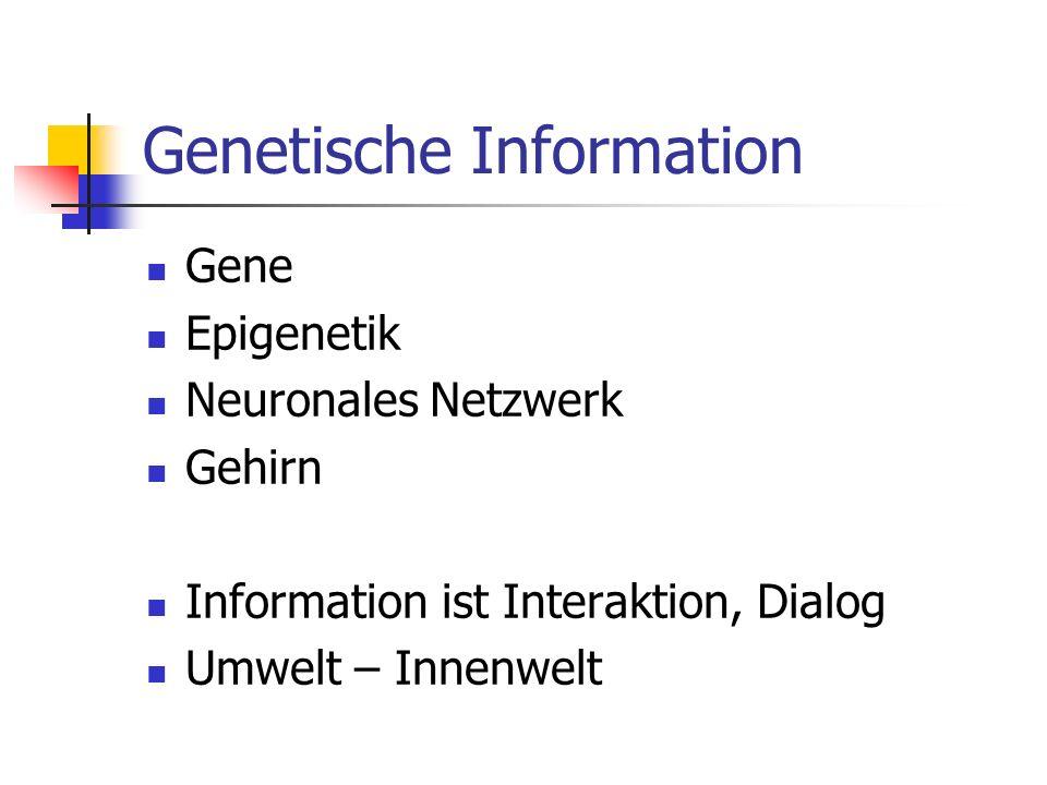 Genetische Information Gene Epigenetik Neuronales Netzwerk Gehirn Information ist Interaktion, Dialog Umwelt – Innenwelt