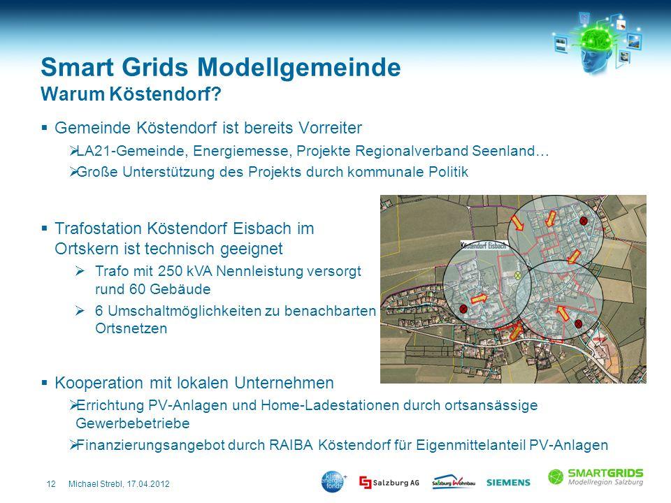 12Michael Strebl, 17.04.2012 Smart Grids Modellgemeinde Warum Köstendorf? Gemeinde Köstendorf ist bereits Vorreiter LA21-Gemeinde, Energiemesse, Proje