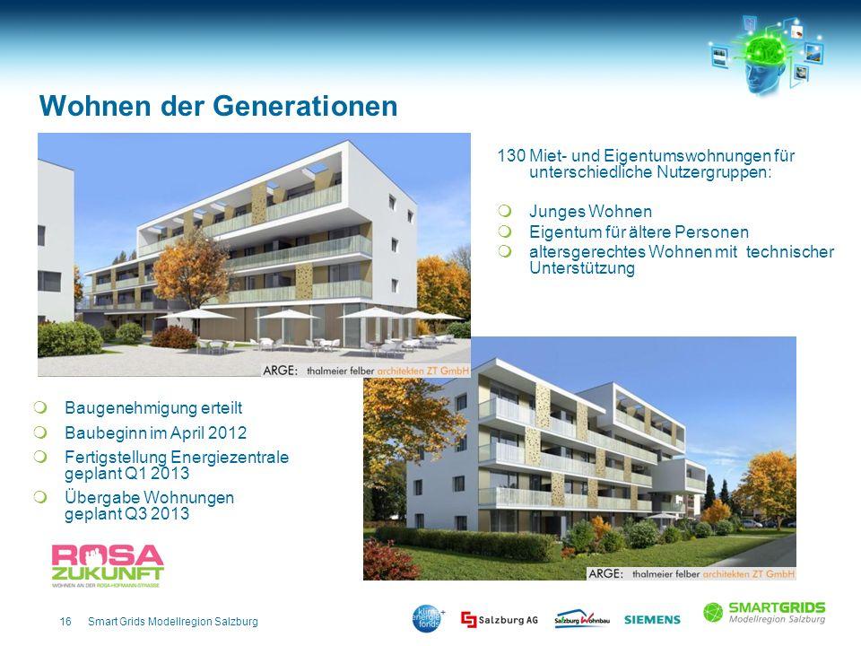 16Smart Grids Modellregion Salzburg 130 Miet- und Eigentumswohnungen für unterschiedliche Nutzergruppen: Junges Wohnen Eigentum für ältere Personen al