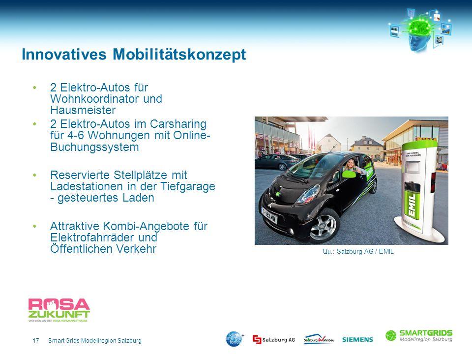 17Smart Grids Modellregion Salzburg 2 Elektro-Autos für Wohnkoordinator und Hausmeister 2 Elektro-Autos im Carsharing für 4-6 Wohnungen mit Online- Bu