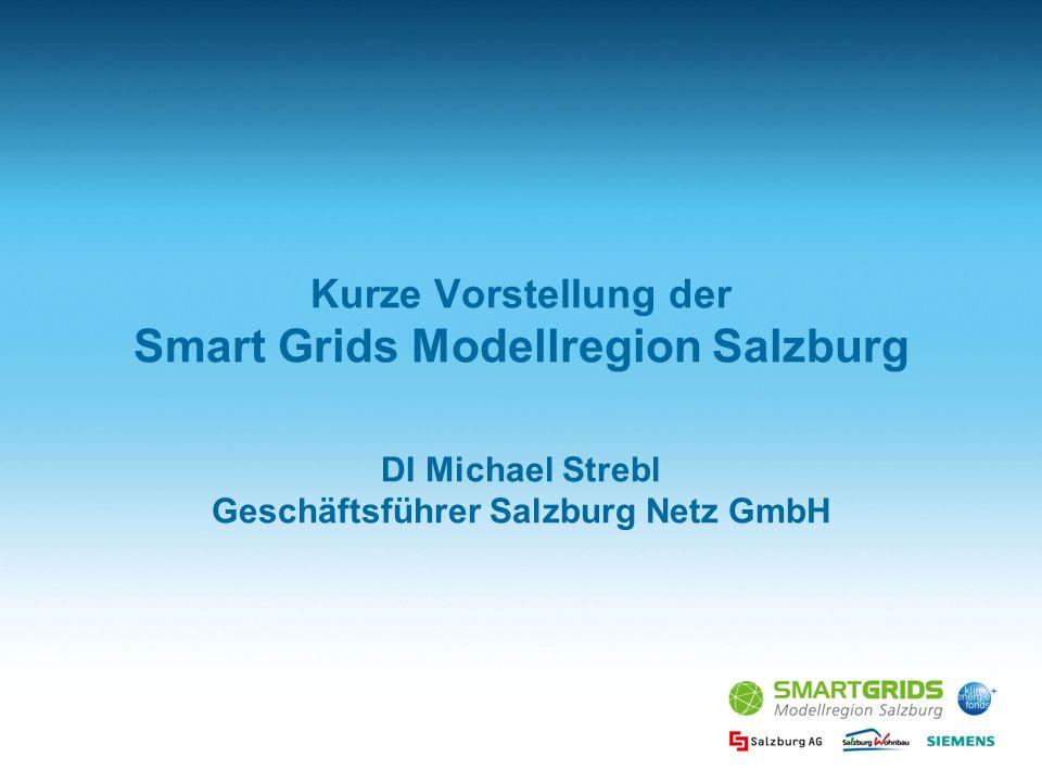 Kurze Vorstellung der Smart Grids Modellregion Salzburg DI Michael Strebl Geschäftsführer Salzburg Netz GmbH