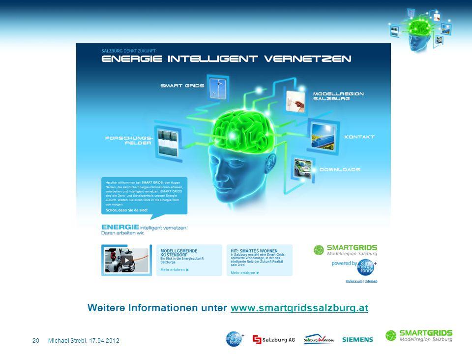 20Michael Strebl, 17.04.2012 Weitere Informationen unter www.smartgridssalzburg.atwww.smartgridssalzburg.at