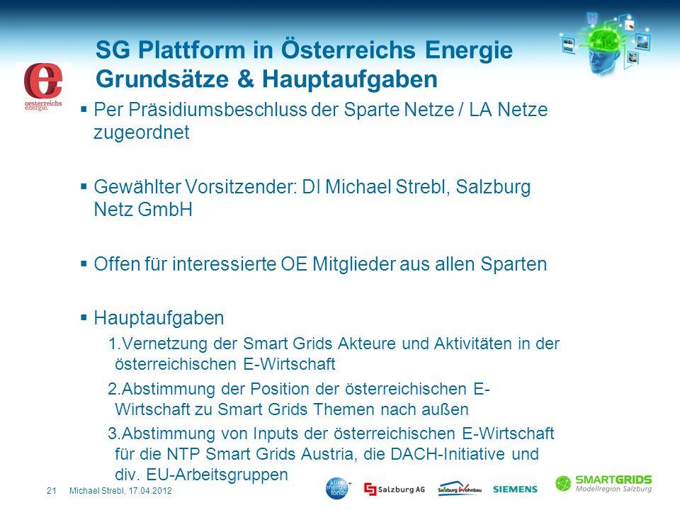 21Michael Strebl, 17.04.2012 SG Plattform in Österreichs Energie Grundsätze & Hauptaufgaben Per Präsidiumsbeschluss der Sparte Netze / LA Netze zugeor