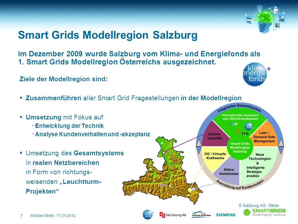 7Michael Strebl, 17.04.2012 Smart Grids Modellregion Salzburg Ziele der Modellregion sind: Zusammenführen aller Smart Grid Fragestellungen in der Mode