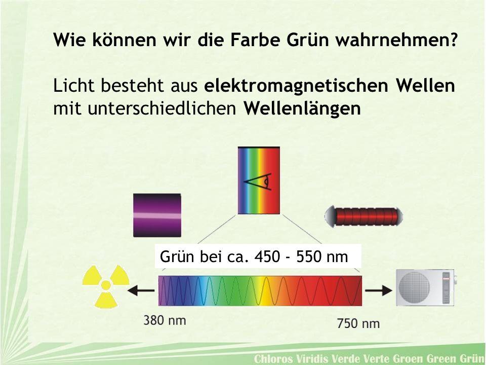 Wie können wir die Farbe Grün wahrnehmen? Licht besteht aus elektromagnetischen Wellen mit unterschiedlichen Wellenlängen Grün bei ca. 450 - 550 nm