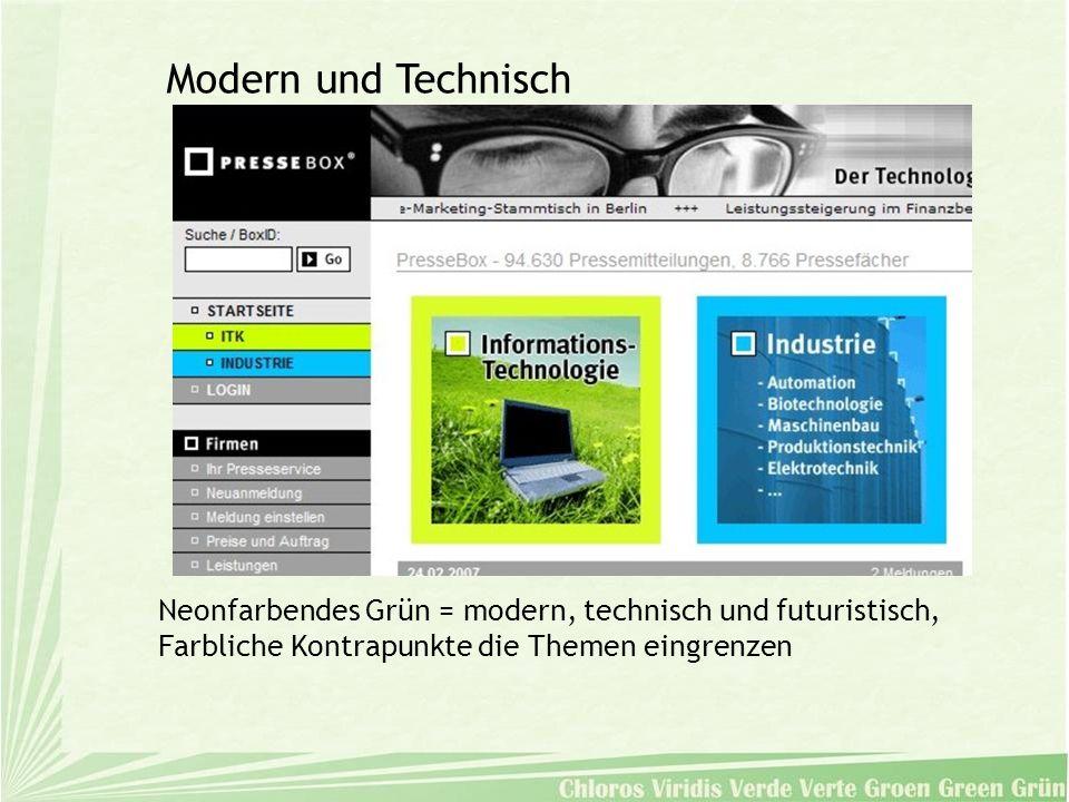 Neonfarbendes Grün = modern, technisch und futuristisch, Farbliche Kontrapunkte die Themen eingrenzen Modern und Technisch