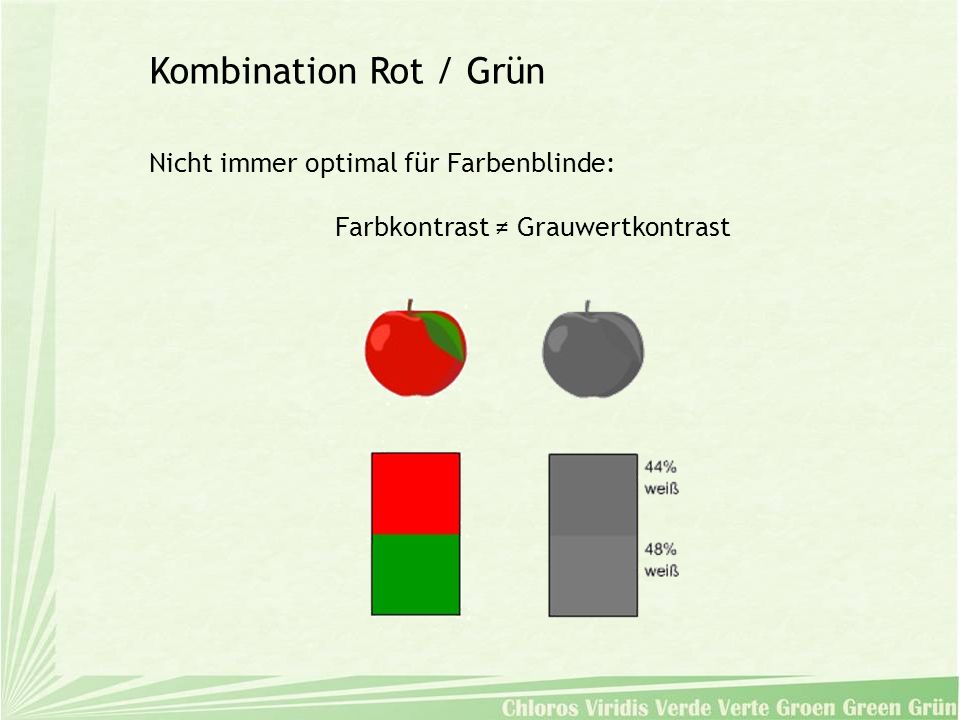 Nicht immer optimal für Farbenblinde: Farbkontrast Grauwertkontrast Kombination Rot / Grün