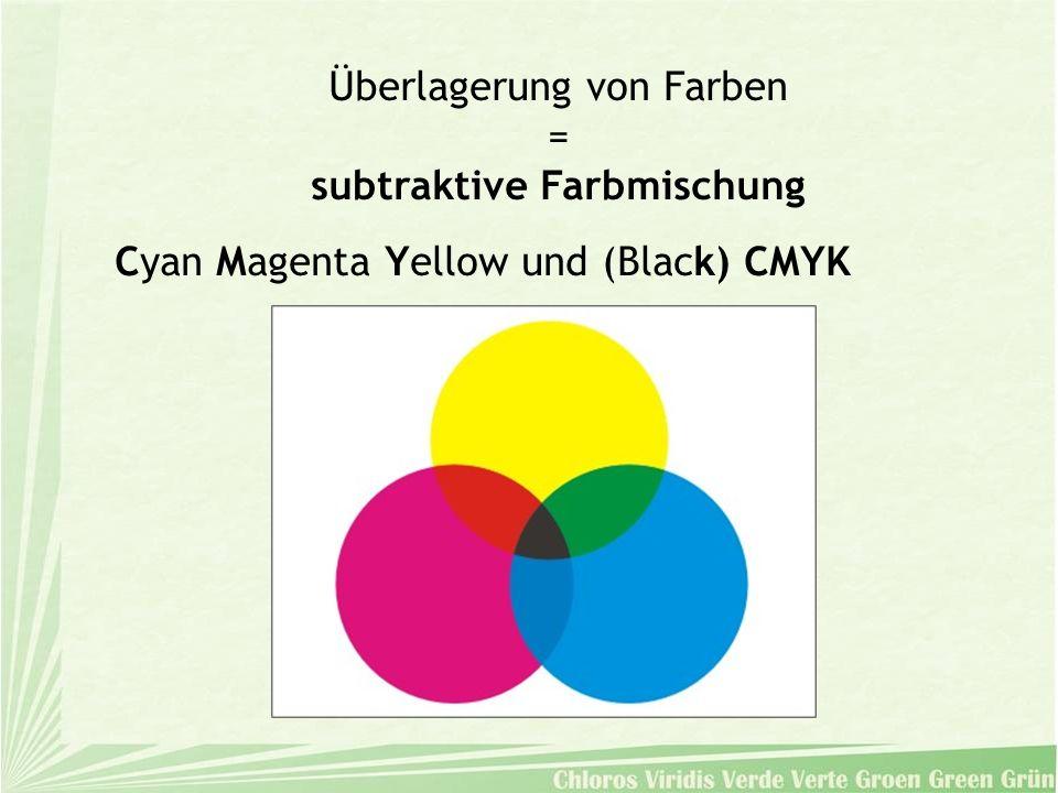 Überlagerung von Farben = subtraktive Farbmischung Cyan Magenta Yellow und (Black) CMYK
