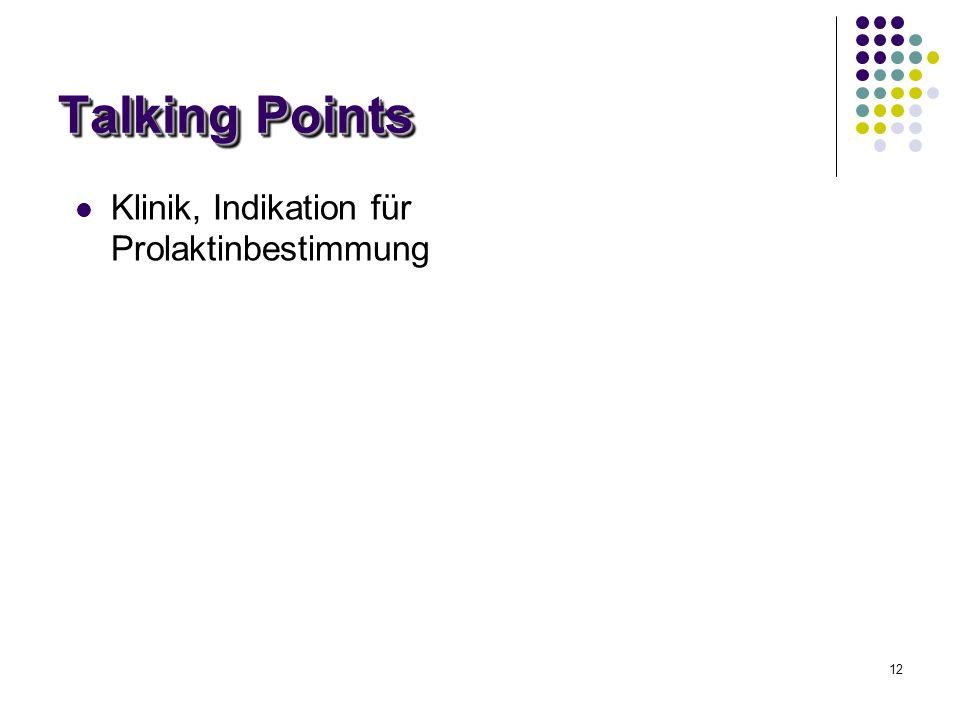 12 Talking Points Klinik, Indikation für Prolaktinbestimmung
