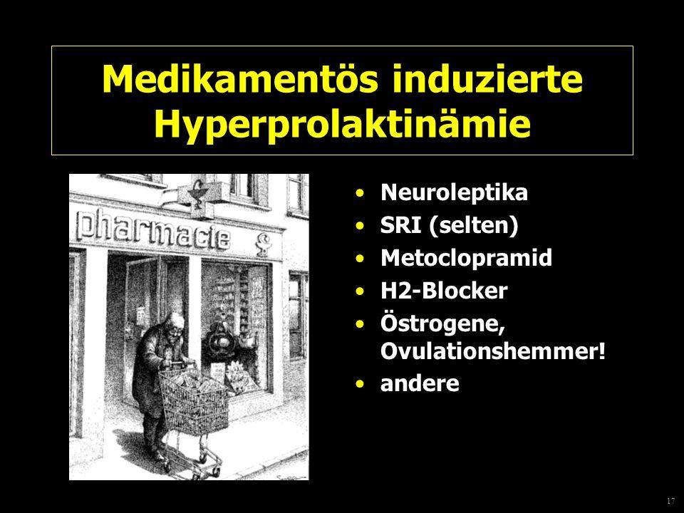 17 Medikamentös induzierte Hyperprolaktinämie Neuroleptika SRI (selten) Metoclopramid H2-Blocker Östrogene, Ovulationshemmer! andere