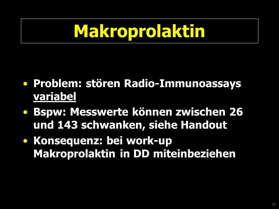 24 Makroprolaktin Problem: stören Radio-Immunoassays variabel Bspw: Messwerte können zwischen 26 und 143 schwanken, siehe Handout Konsequenz: bei work