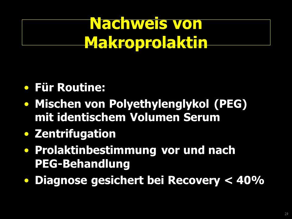 29 Nachweis von Makroprolaktin Für Routine: Mischen von Polyethylenglykol (PEG) mit identischem Volumen Serum Zentrifugation Prolaktinbestimmung vor u