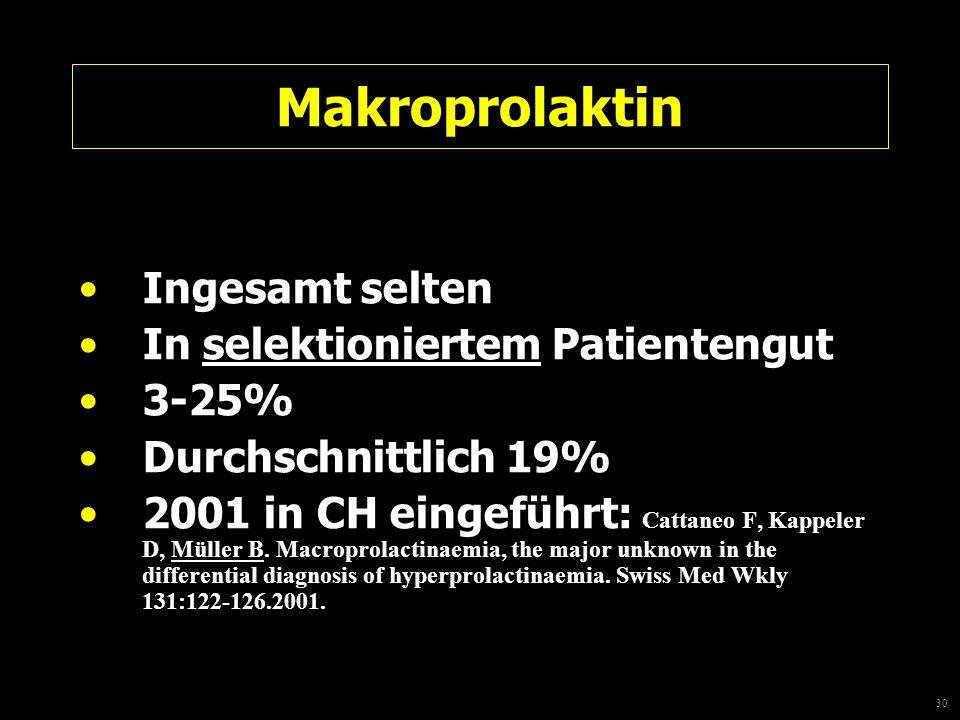 30 Makroprolaktin Ingesamt selten In selektioniertem Patientengut 3-25% Durchschnittlich 19% 2001 in CH eingeführt: Cattaneo F, Kappeler D, Müller B.