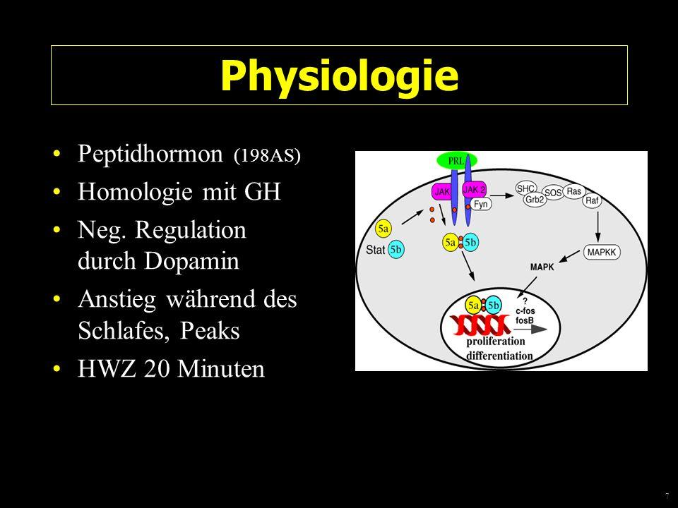 7 Physiologie Peptidhormon (198AS) Homologie mit GH Neg. Regulation durch Dopamin Anstieg während des Schlafes, Peaks HWZ 20 Minuten